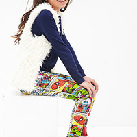 FOREVER 21 GIRLS Marvel Comic Superhero Leggings (Kids) Blue/Red