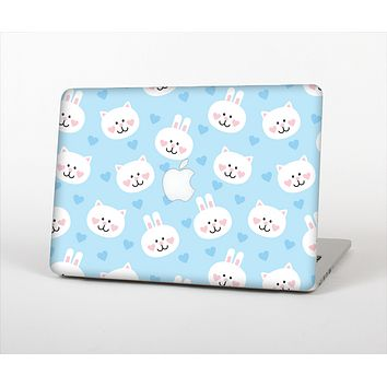 The Subtle Blue & White Faced Cats Skin Set for the Apple MacBook Air 11""