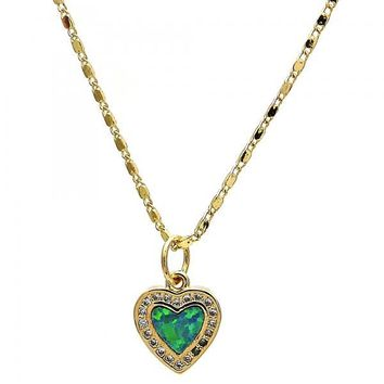 Gold Layered Fancy Necklace, Heart Design, with Opal and Micro Pave, Gold Tone