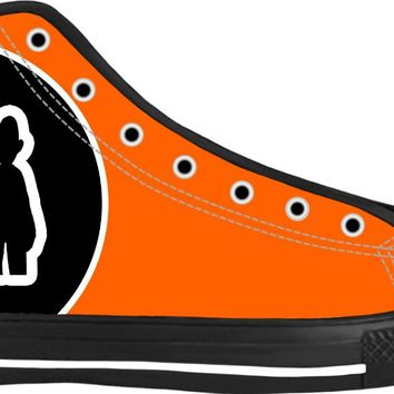 """Say Cheese"" Neon Orange High Top Canvas Sneakers by Moodlins Apparel and Novelty"