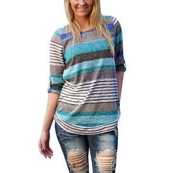 VOND4H Fashion Women Loose Causal Long Sleeve Striped Shirts Crew Neck Tops Blouse Pullover Jumper 4558