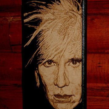 Andy Warhol woodburned wall decoration