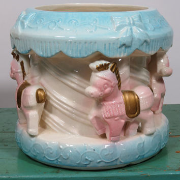 Baby Carousel Ceramic Planter • Rubens Originals Los Angeles • Vintage Baby Girl or Boy Gift • 1950s • Beautiful Crazing • Made in Japan