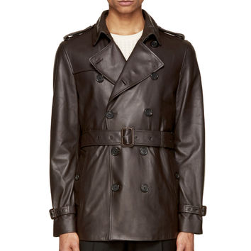Burberry London Brown Leather Trench Coat