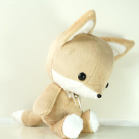 Cute Bellzi Stuffed Animal Brown w/ White Contrast Fox Plushie Doll - Foxxi