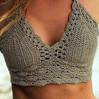Khaki Halter Crochet Cropped Top