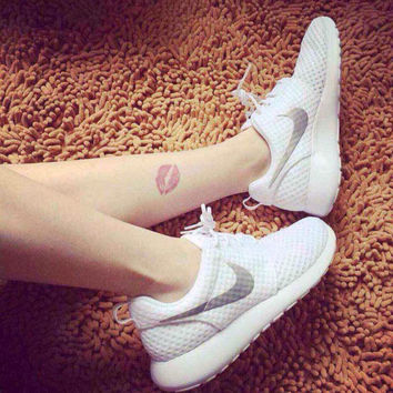 """NIKE"" Trending Fashion Casual Sports Shoes White silver"