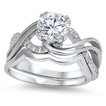 Sterling Silver CZ 1.25 carat Rhodium Brilliant Round Cut Infinity Wedding Ring Set Size 5-10