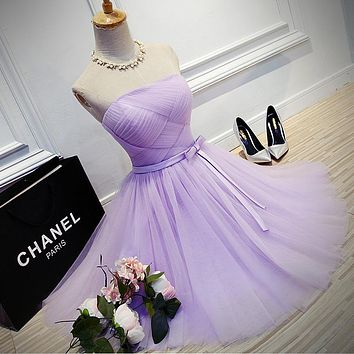 Cheap Lavender Short Prom Dresses 2017 Strapless Tulle Graduation Party Dresses Vestido De Baile Curto