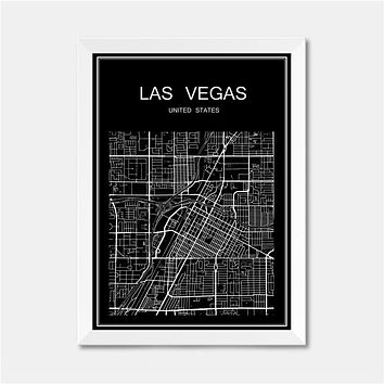 Las Vegas USA CITY World map poster abstract vintage paper print picture bar cafe pub living room bedroom house decor 42x30cm