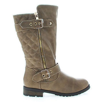 Mango21K Taupe Pu by Link, Taupe PU Children's Girls Knee High Quilted Stitched Buckle Riding Boots