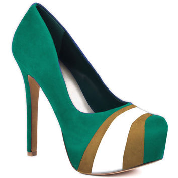 HERSTAR™ Aqua Green Gold White Team Color Suede Pumps