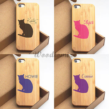 Real Bamboo Wood case for iPhone 5c iPhone 5 5s cat personalized custom name case, iPhone 5c 5 5s wooden cover case, FREE screen protector