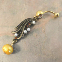 Golden Flower with Pearls Belly Button Ring