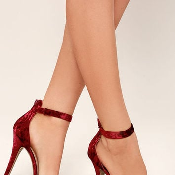 Samantha Burgundy Velvet Platform High Heel Sandals