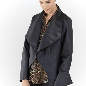 Catherine Faux Leather Black Draped Jacket