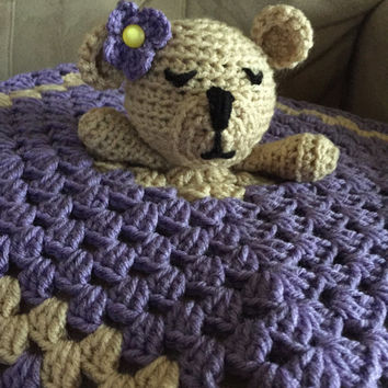 Crochet Teddy Bear Lovey, Crochet Purple Security Blanket