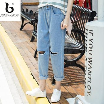 FINEWORDS Holes Mid-Rise Ripped Boyfriend Jeans Women Denim Fashion Loose Capris Jeans Slim Beggar Female Jeans Pencil Pants
