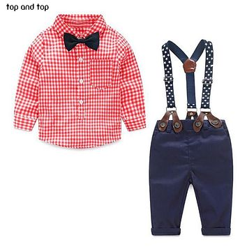Fashion kids clothes  grid shirt + suspender newborn Long sleeve baby boy clothes Bow knot gentleman suit