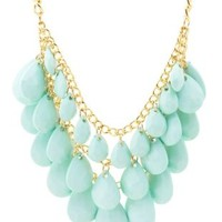 Faceted Bead Bib Necklace by Charlotte Russe - Lt Blue