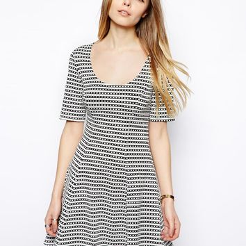 ASOS Skater Dress In Textured Stripe