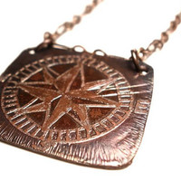 Compass Rose Necklace Etched in Copper