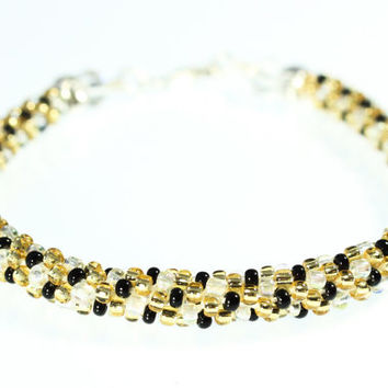 Black and Gold Bracelet, Kumihimo Beaded Jewelry, Narrow Bracelet