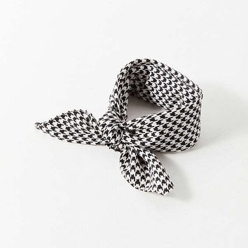 Houndstooth Silky Mini Square Scarf | Urban Outfitters