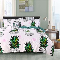 Brocade Green Pineapple White Luxury 4-Piece Cotton Bedding Sets/Duvet Cover