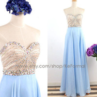 Ice Blue Long Prom Dresses, Strapless Sweetheart Crystal Blue Long Formal Dresses, Strapless Crystals Blue Prom Gown