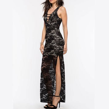 Summer Hot Sale Sleeveless Split Lace Prom Dress [6313101252]