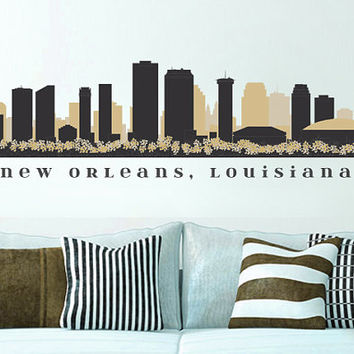 "NFL SAINTS New Orleans Skyline Team Wall Decal Washington Art Vinyl Peel n Stick up to 70"" x 18"" College Dorm Office Business Decor City"