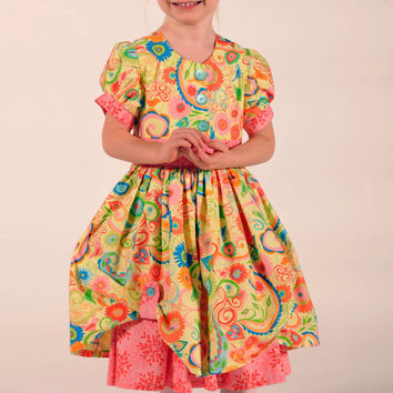 Girl's Vintage-Inspired Dress, Children Clothing, Girl Dresses,  Girl Clothing, Toddler, pink, 24 mos, Size 2T 3T 4T 5 6 7 8 9/10