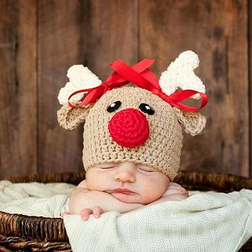 Cute Cartoon Newborn Infant Crochet Knitted Christmas Deer Baby Hats For Boy Girl Cap Photography Props Bowknot Hat Girl 0-4M