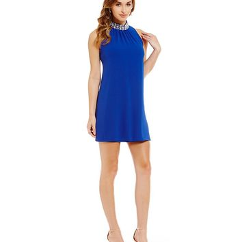 Teeze Me Beaded Neckline Trapeze Dress | Dillards