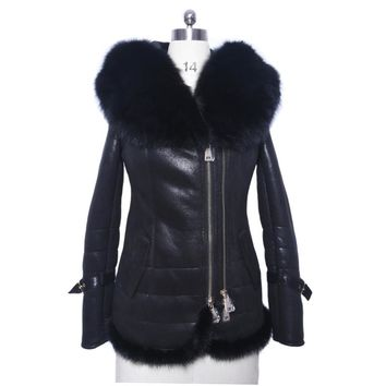 Real fox fur Collar supply Faux Fur coat women thick Cold Suede sexy jackets real mink fur