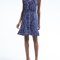 Floral Cross-Flounce Fit-and-Flare Dress | Banana Republic