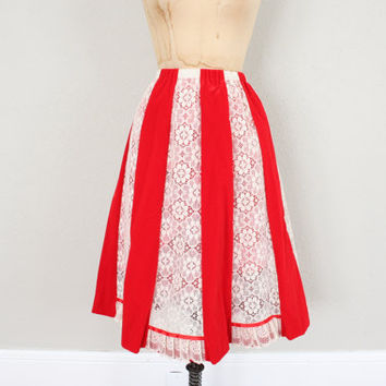 Vintage Square Dance Skirt // Red and White Lace Skirt // Vintage Summer Skirt // 1970s Skirt