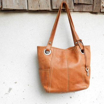 Vintage FOSSIL Brown Leather Tote Bag // Shoulder Bag //