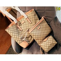 Gucci Fashion Women Leather Handbag Crossbody Shoulder Bag Satchel Wallet Three Piece Set