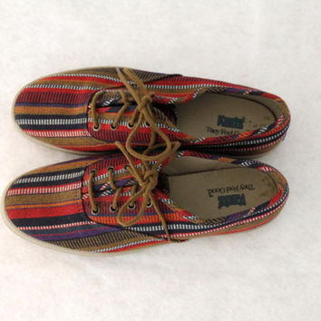 1990s Keds Tennis Shoes Kilim Turkish Tribal Stripe Boho Bohemian Womens Vintage 7 M