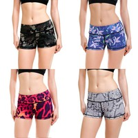 Women's Yoga Shorts Quick-drying Print Sport Fitness Running Elastic Tight Shorts Summer Clothes for Women