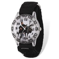 Disney Frozen Sven & Kristoff Acrylic Blk Velcro Time Teacher Watch