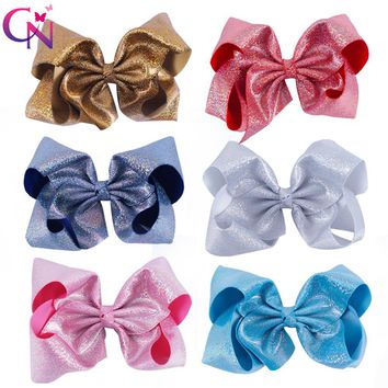 "6 Pieces/lot 7"" Glitter Hair Bows With Clips For Kids Girl Princess Handmade Large Leather Bling Bows Hairgrips Hair Accessories"