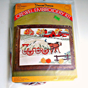 Crewel Embroidery Kit Hay Wagon Pauline Denham Kit No. 6056 Vintage 1974 Barn Horses Farmer