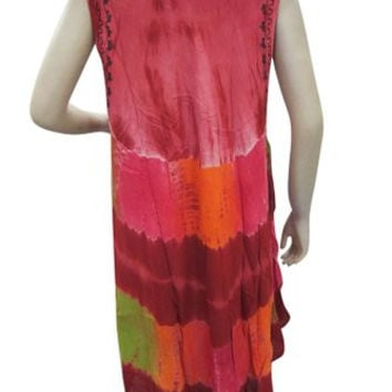 Boho Hippy Beach Cover Up Maroon Tie Dye Embroidered Dress