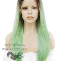 """24 inch Heat Safe Synthetic Straight Texture Lace Front """"Aphrodite"""" in Rooted Sea Siren Green"""