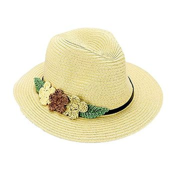 Beatnix Fashions Beige Triple Flower Trim Straw Fedora Hat
