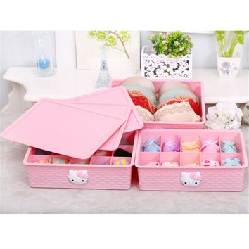 Hello Kitty Thick Plastic Storage Box Underwear Bra Socks Cosmetics Storage Box with Cover 10 grid 31.5*24.5*8cm Mi6