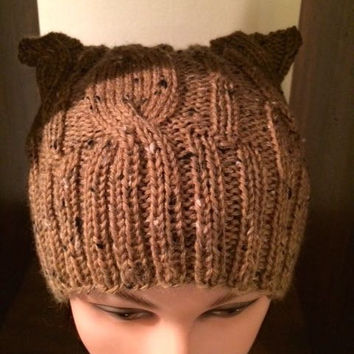 "Djflesh Big Head Katzenkabel ""Cat Hat"" - Free Shipping - Hand Knit Beanie - Cat Ears - Cables"